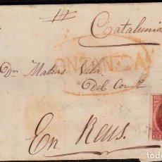Sellos: CARTA ENTERA CON NUM. 17 DE VEGA (1853)-CANTABRIA CON MARCA PREFILATÉLICA ONTANEDA Y PARRILLA NEGRA. Lote 97221307