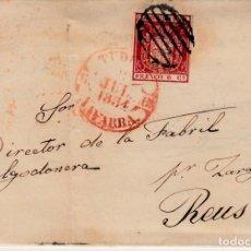 Sellos: CARTA ENTERA CON NUM. 24 DE TUDELA (1854) MATASELLOS BAEZA ROJO ENCIMA DEL SELLO Y PARRILLA. Lote 97250859