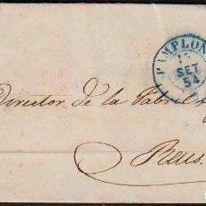 Sellos: CARTA ENTERA CON NUM. 24 DE PAMPLONA (1854) MATASELLOS AZUL Y PARRILLA NEGRA. Lote 97251047