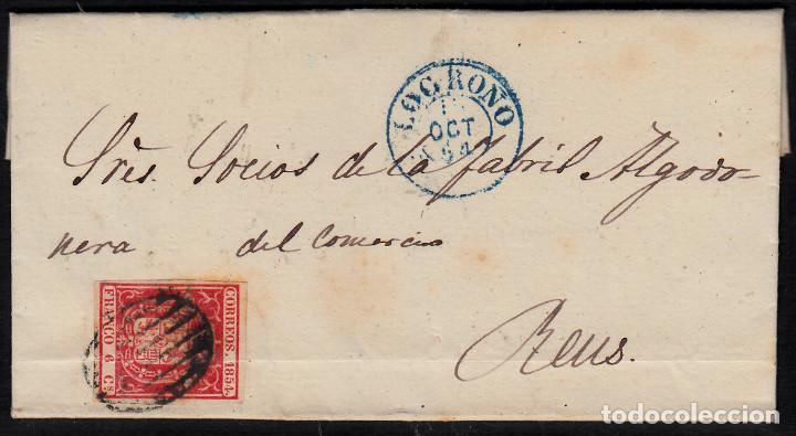 CARTA ENTERA CON NUM. 24 DE LOGROÑO (1854) MATASELLOS PARRILLA NEGRO,FECHADOR AZUL Y LLEGADA A REUS (Sellos - España - Isabel II de 1.850 a 1.869 - Cartas)