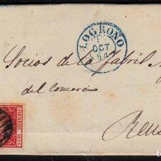 Sellos: CARTA ENTERA CON NUM. 24 DE LOGROÑO (1854) MATASELLOS PARRILLA NEGRO,FECHADOR AZUL Y LLEGADA A REUS. Lote 97310223