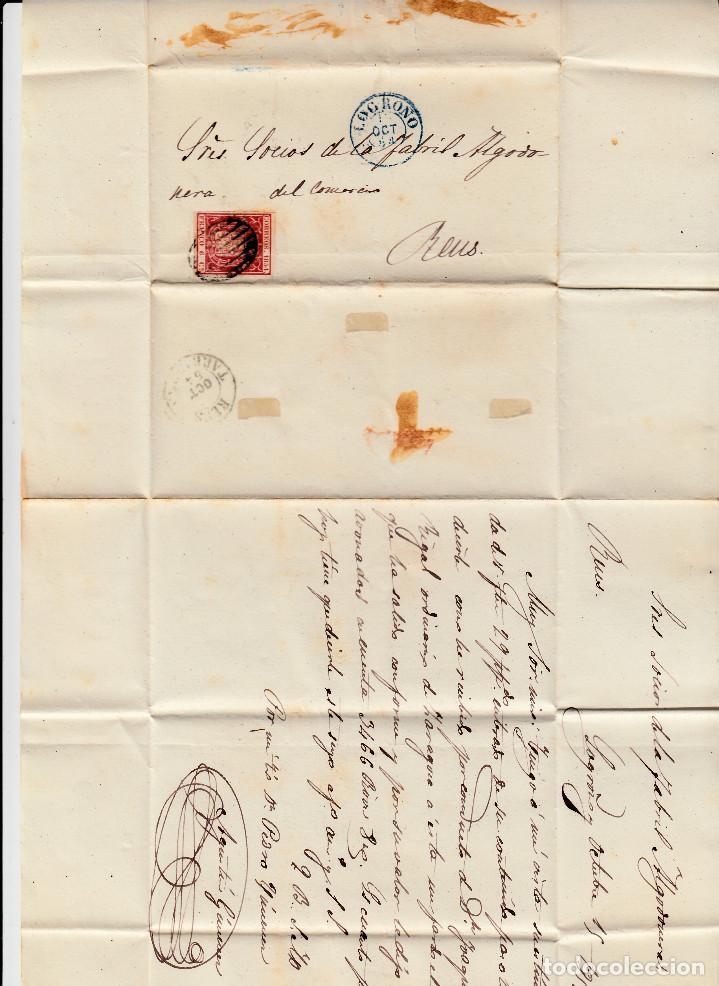 Sellos: CARTA ENTERA CON NUM. 24 DE LOGROÑO (1854) MATASELLOS PARRILLA NEGRO,FECHADOR AZUL Y LLEGADA A REUS - Foto 2 - 97310223