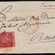 Sellos: CARTA ENTERA CON NUM. 24 DE FRAGA (1854) MATASELLOS DOBLE PARRILLA ROJA FECHADOR ROJO ---RRR----. Lote 97312795