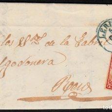 Sellos: CARTA ENTERA CON NUM. 33 DE LLEIDA (1854) MATASELLOS PARRILLA NEGRA FECHADOR AZUL. Lote 97313515