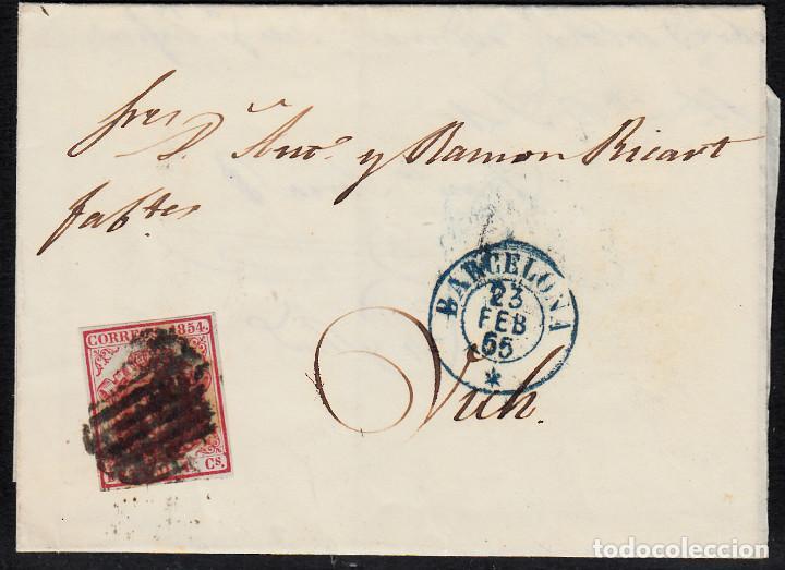 CARTA ENTERA CON NUM. 33 DE BARCELONA (1855) A VIC MATASELLOS PARRILLA NEGRA FECHADOR AZUL (Sellos - España - Isabel II de 1.850 a 1.869 - Cartas)