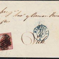 Sellos: CARTA ENTERA CON NUM. 33 DE BARCELONA (1855) A VIC MATASELLOS PARRILLA NEGRA FECHADOR AZUL. Lote 97316935