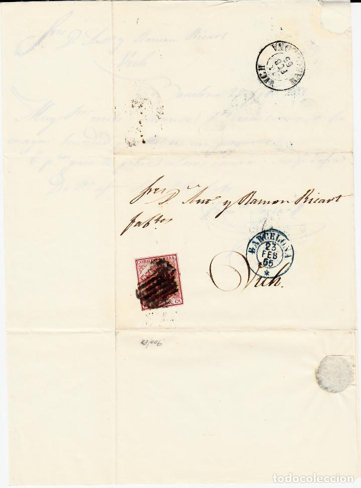 Sellos: CARTA ENTERA CON NUM. 33 DE BARCELONA (1855) A VIC MATASELLOS PARRILLA NEGRA FECHADOR AZUL - Foto 2 - 97316935
