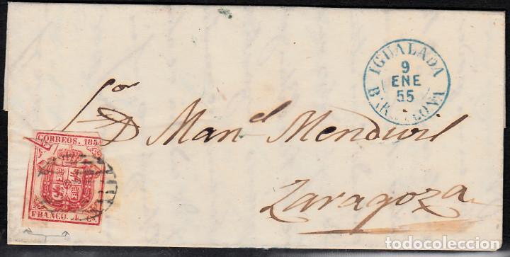 CARTA ENTERA CON NUM. 33 DE IGUALADA (1855) A ZARAGOZA MATASELLOS PARRILLA NEGRA FECHADOR AZUL (Sellos - España - Isabel II de 1.850 a 1.869 - Cartas)