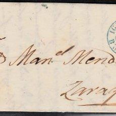 Sellos: CARTA ENTERA CON NUM. 33 DE IGUALADA (1855) A ZARAGOZA MATASELLOS PARRILLA NEGRA FECHADOR AZUL. Lote 97317415