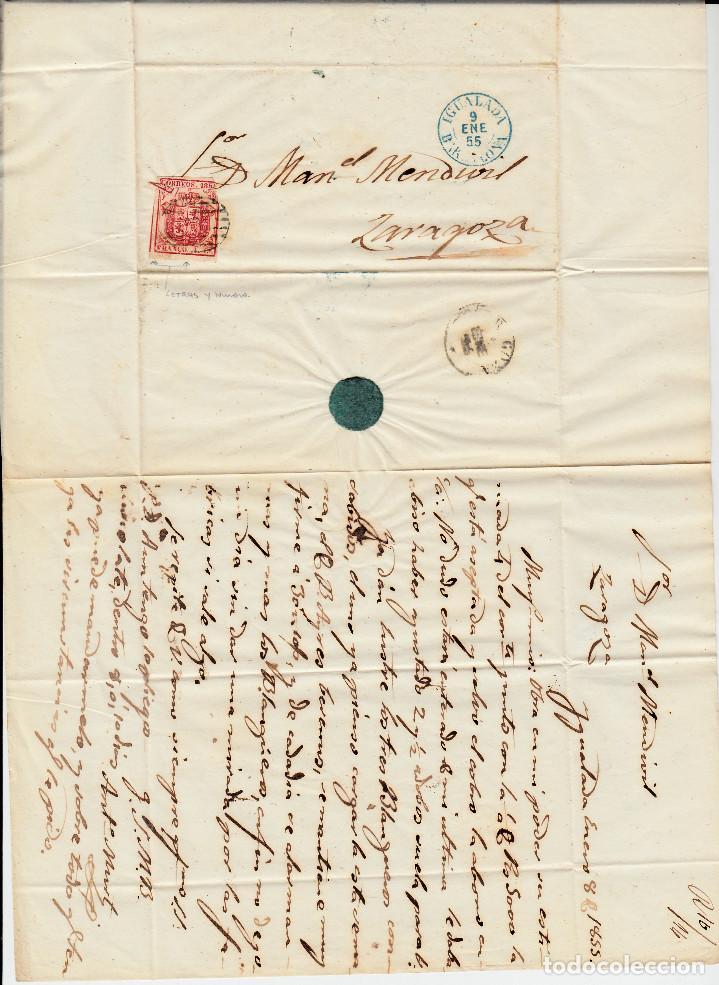 Sellos: CARTA ENTERA CON NUM. 33 DE IGUALADA (1855) A ZARAGOZA MATASELLOS PARRILLA NEGRA FECHADOR AZUL - Foto 2 - 97317415