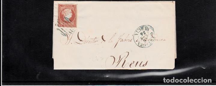 CARTA ENTERA CON NUM. 40 DE CARTAGENA (1856) A REUS, MATASELLOS PARRILLA Y FECHADOR ---AZUL--- (Sellos - España - Isabel II de 1.850 a 1.869 - Cartas)
