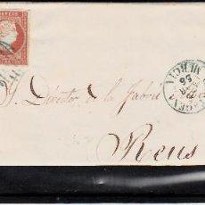 Sellos: CARTA ENTERA CON NUM. 40 DE CARTAGENA (1856) A REUS, MATASELLOS PARRILLA Y FECHADOR ---AZUL---. Lote 97501687