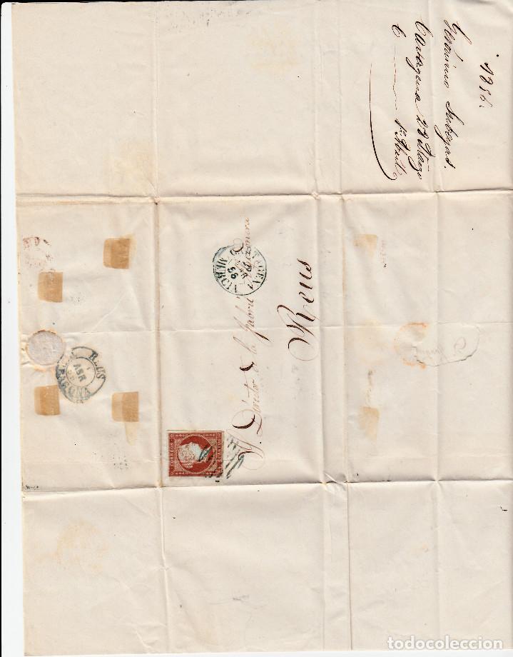 Sellos: CARTA ENTERA CON NUM. 40 DE CARTAGENA (1856) A REUS, MATASELLOS PARRILLA Y FECHADOR ---AZUL--- - Foto 2 - 97501687