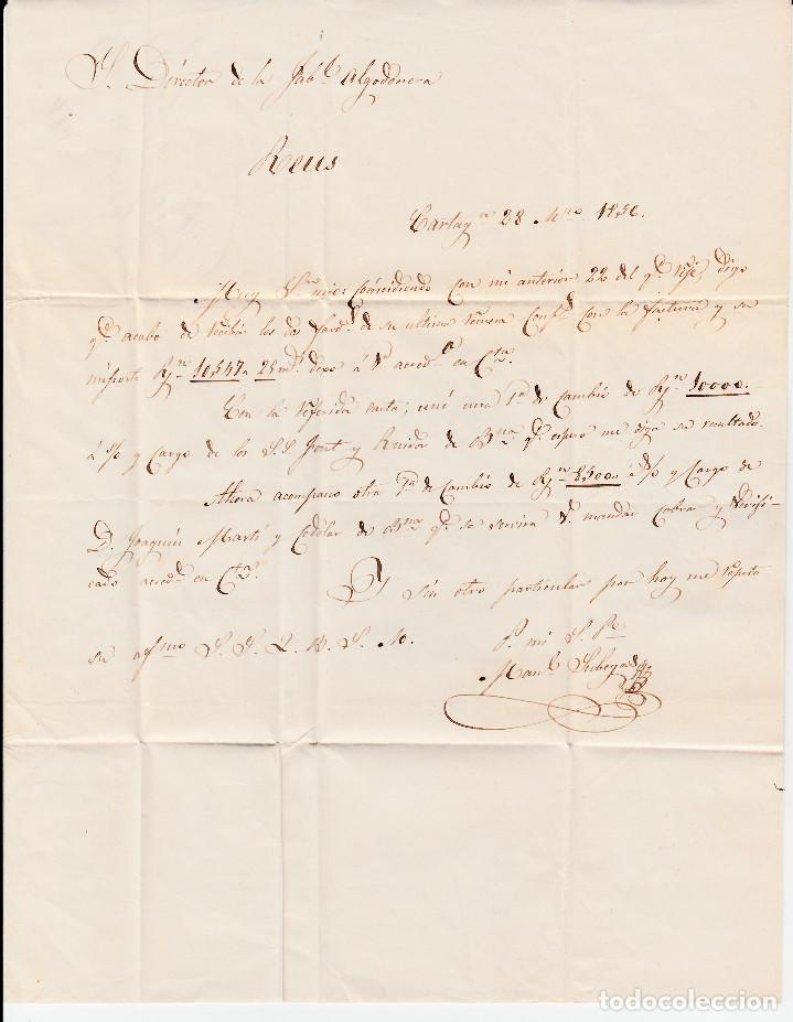 Sellos: CARTA ENTERA CON NUM. 40 DE CARTAGENA (1856) A REUS, MATASELLOS PARRILLA Y FECHADOR ---AZUL--- - Foto 3 - 97501687