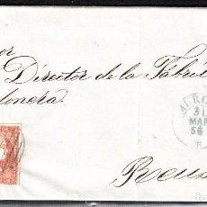 Sellos: CARTA ENTERA CON NUM. 44 DE MURCIA (1856) A REUS , MATASELLOS PARRILLA Y FECHADOR AZULES. Lote 97504343