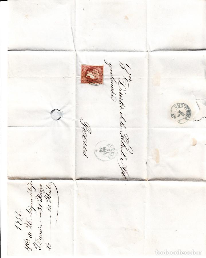 Sellos: CARTA ENTERA CON NUM. 44 DE MURCIA (1856) A REUS , MATASELLOS PARRILLA y fechador azules - Foto 2 - 97504343