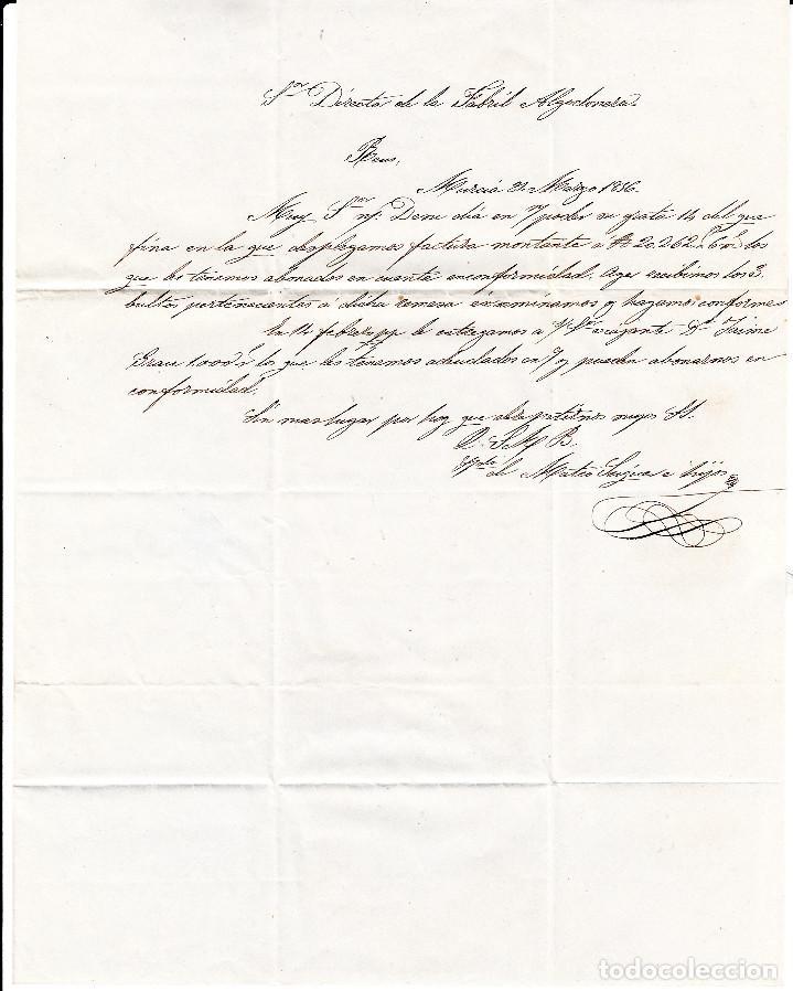 Sellos: CARTA ENTERA CON NUM. 44 DE MURCIA (1856) A REUS , MATASELLOS PARRILLA y fechador azules - Foto 3 - 97504343
