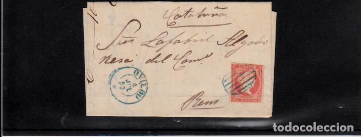 CARTA ENTERA CON NUM. 44 DE OVIEDO (1856) A REUS , MATASELLOS PARRILLA Y FECHADOR AZULES (Sellos - España - Isabel II de 1.850 a 1.869 - Cartas)