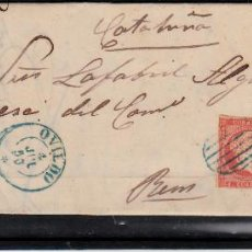 Sellos: CARTA ENTERA CON NUM. 44 DE OVIEDO (1856) A REUS , MATASELLOS PARRILLA Y FECHADOR AZULES. Lote 97506059