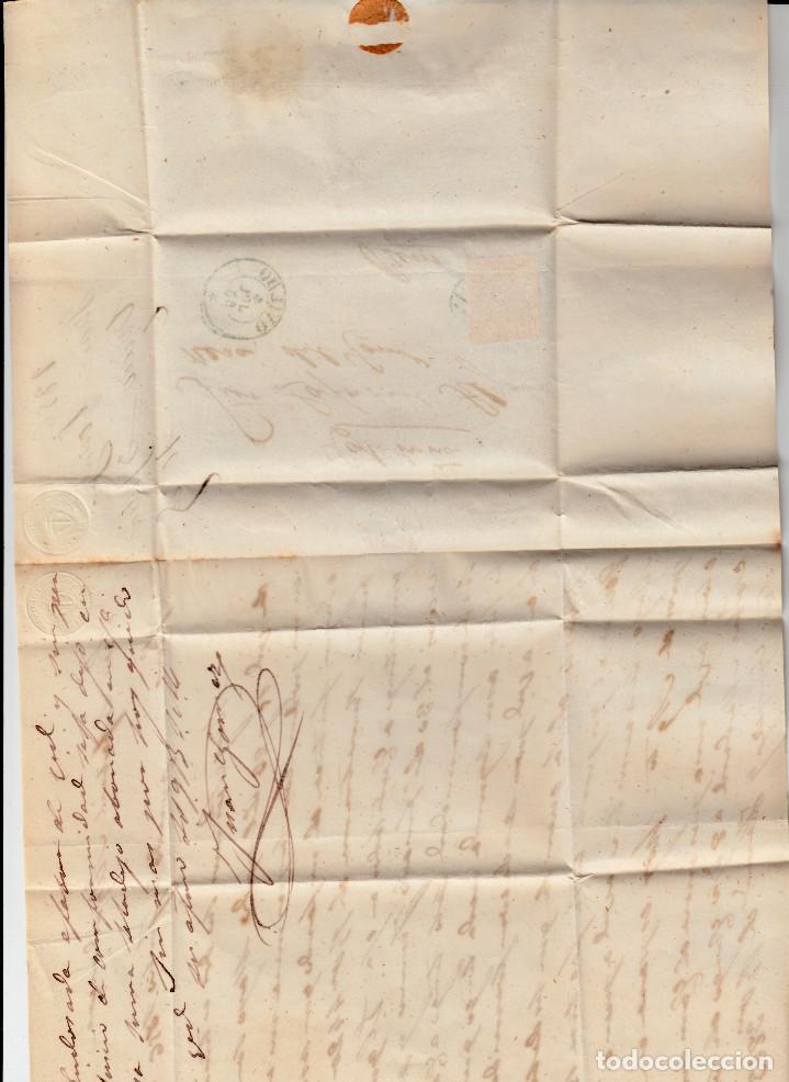 Sellos: CARTA ENTERA CON NUM. 44 DE OVIEDO (1856) A REUS , MATASELLOS PARRILLA y fechador azules - Foto 2 - 97506059