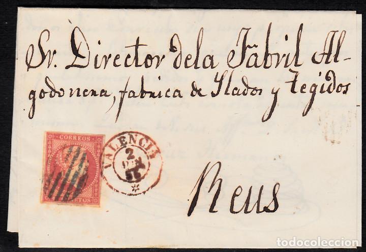 CARTA ENTERA CON NUM. 44 DE VALENCIA (1856) A REUS PARRILLA NEGRO Y FECHADOR ROJO EN EL SELLO (Sellos - España - Isabel II de 1.850 a 1.869 - Cartas)
