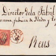 Sellos: CARTA ENTERA CON NUM. 44 DE VALENCIA (1856) A REUS PARRILLA NEGRO Y FECHADOR ROJO EN EL SELLO. Lote 97513731