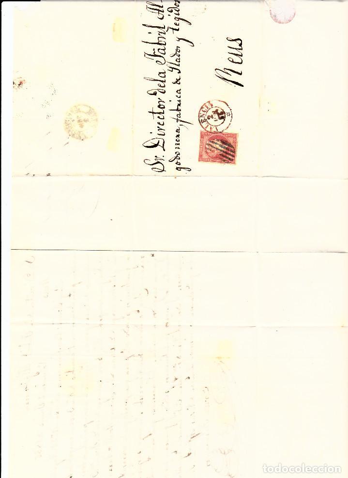 Sellos: CARTA ENTERA CON NUM. 44 DE valencia (1856) A REUS PARRILLA NEGrO Y FECHADOR ROJO EN EL SELLO - Foto 2 - 97513731
