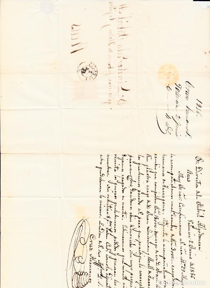 Sellos: CARTA ENTERA CON NUM. 44 DE valencia (1856) A REUS PARRILLA NEGrO Y FECHADOR ROJO EN EL SELLO - Foto 3 - 97513731