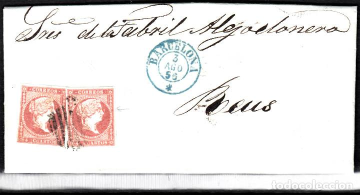 CARTA ENTERA CON PAREJA NUM. 44 DE BARCELONA (1856) A REUS , PARRILLA NEGRO Y FECHADOR AZUL (Sellos - España - Isabel II de 1.850 a 1.869 - Cartas)