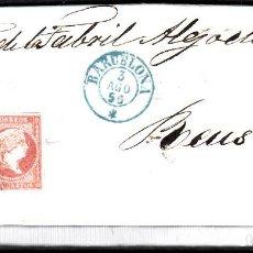 Sellos: CARTA ENTERA CON PAREJA NUM. 44 DE BARCELONA (1856) A REUS , PARRILLA NEGRO Y FECHADOR AZUL. Lote 97514311