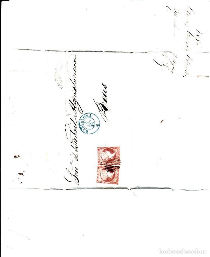 Sellos: CARTA ENTERA CON PAREJA NUM. 44 DE BARCElona (1856) A REUS , PARRILLA NEGRO y fechador AZUL - Foto 2 - 97514311