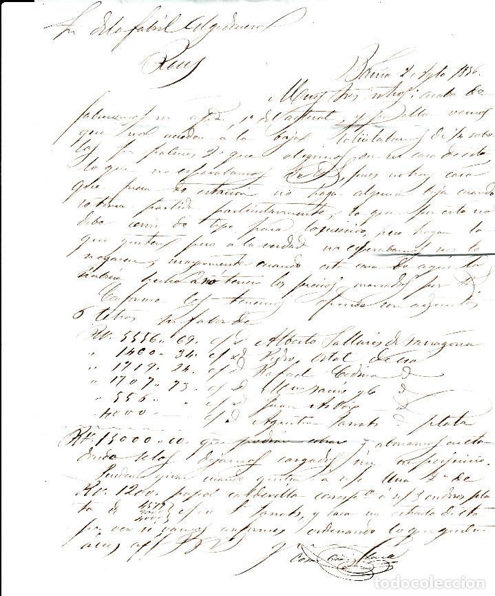 Sellos: CARTA ENTERA CON PAREJA NUM. 44 DE BARCElona (1856) A REUS , PARRILLA NEGRO y fechador AZUL - Foto 3 - 97514311