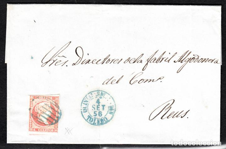 CARTA ENTERA DE MANUEL CASTELLANOS DE QUINTANAR DE LA ORDEN(1856) ,NUM.44 PARRILLA Y FECH. AZULES (Sellos - España - Isabel II de 1.850 a 1.869 - Cartas)