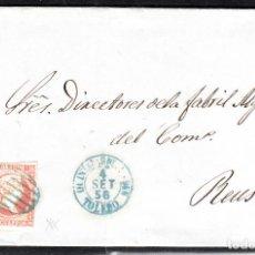 Sellos: CARTA ENTERA DE MANUEL CASTELLANOS DE QUINTANAR DE LA ORDEN(1856) ,NUM.44 PARRILLA Y FECH. AZULES. Lote 97516319