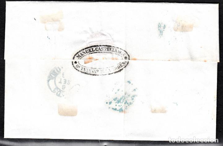 Sellos: CARTA ENTERA DE MANUEL CASTELLANOS DE QUINTANAR DE LA ORDEN(1856) ,NUM.44 PARRILLA Y FECH. AZULES - Foto 2 - 97516319
