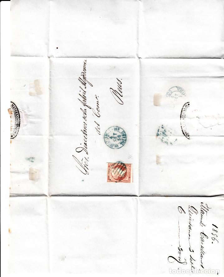 Sellos: CARTA ENTERA DE MANUEL CASTELLANOS DE QUINTANAR DE LA ORDEN(1856) ,NUM.44 PARRILLA Y FECH. AZULES - Foto 3 - 97516319