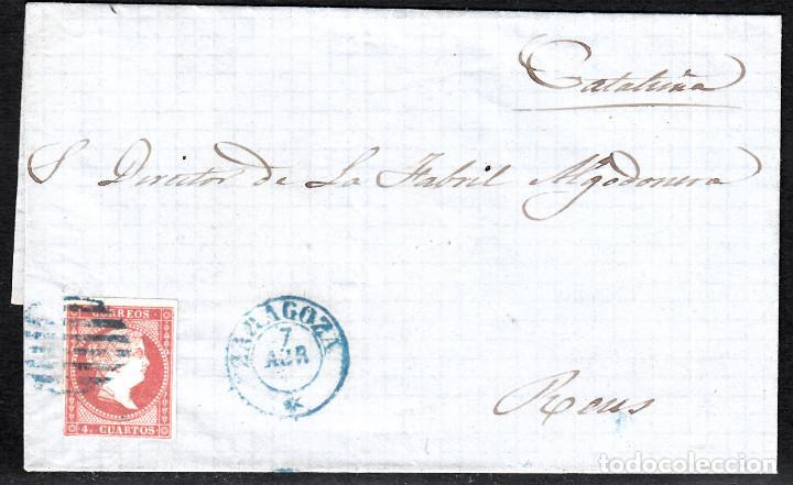 CARTA ENTERA CON NUM. 48 DE ZARAGOZA (1857) A REUS , MATASELLOS PARRILLA Y FECHADOR AZULES (Sellos - España - Isabel II de 1.850 a 1.869 - Cartas)