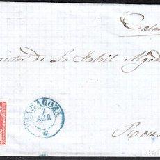 Sellos: CARTA ENTERA CON NUM. 48 DE ZARAGOZA (1857) A REUS , MATASELLOS PARRILLA Y FECHADOR AZULES. Lote 97518087