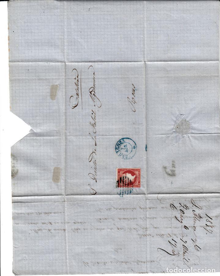 Sellos: CARTA ENTERA CON NUM. 48 DE ZARAGOZA (1857) A REUS , MATASELLOS PARRILLA y fechador azules - Foto 2 - 97518087