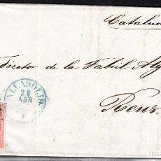 Sellos: CARTA ENTERA CON NUM. 48 DE B.HERREZUELO EN VALLADOLID (1857), PARRILLA NEGRA Y FECHADOR AZUL. Lote 97524015
