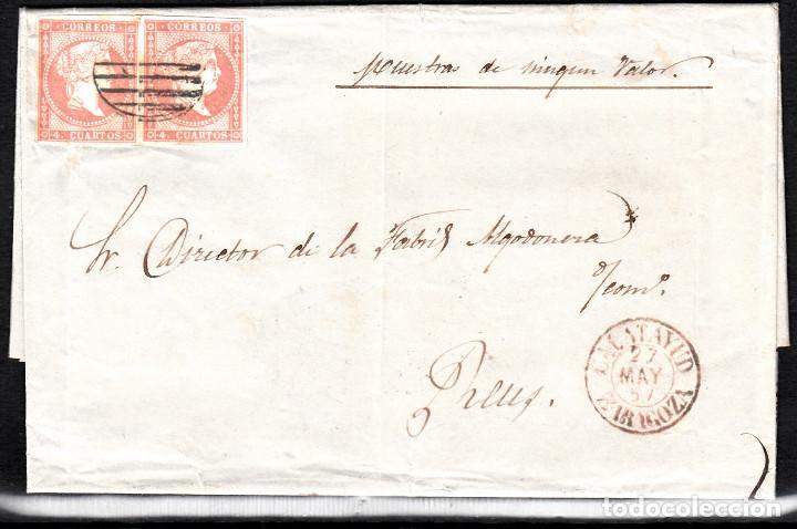 CARTA ENTERA CON PAREJA NUM. 48 DE CALATAYUD (1857) PARRILLA NEGRA Y FECHADOR ROJO -EXCELENTE (Sellos - España - Isabel II de 1.850 a 1.869 - Cartas)