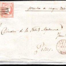 Sellos: CARTA ENTERA CON PAREJA NUM. 48 DE CALATAYUD (1857) PARRILLA NEGRA Y FECHADOR ROJO -EXCELENTE. Lote 97534683