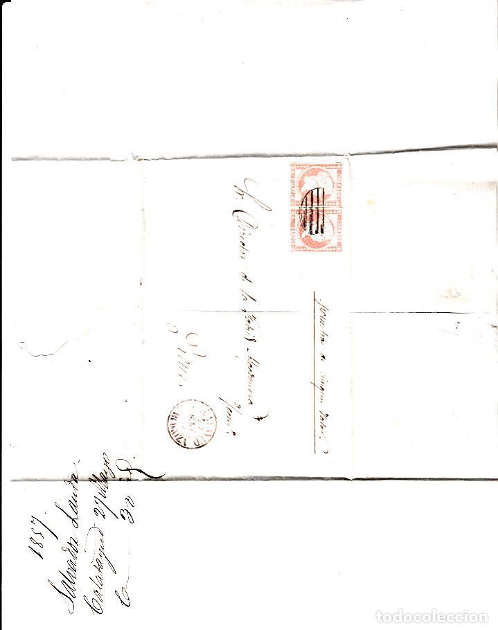 Sellos: CARTA ENTERA CON PAREJA NUM. 48 DE CALATAYUD (1857) PARRILLA NEGRA Y FECHADOR ROJO -EXCELENTE - Foto 2 - 97534683