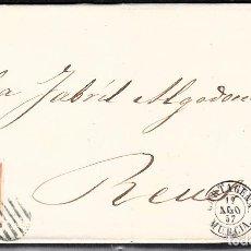 Sellos: CARTA ENTERA CON NUM. 48 DE CARTAGENA (1857) A REUS , PARRILLA VERDE GRIS Y FECHADOR. Lote 97535015