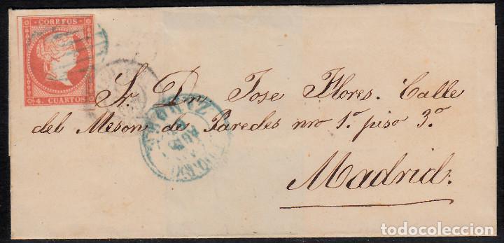 ENVUELTA CON NUM. 48 DE ZAMORA (1857) A MADRID MATASELLOS PARRILLA AZUL Y FECHADORES NEGRO Y AZUL (Sellos - España - Isabel II de 1.850 a 1.869 - Cartas)