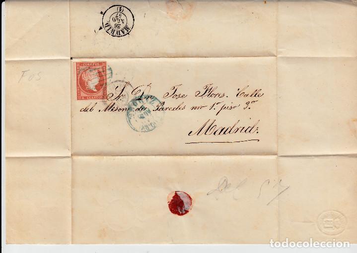 Sellos: ENVUELTA CON NUM. 48 DE ZAMORA (1857) A MADRID MATASELLOS PARRILLA AZUL Y FECHADORES NEGRO Y AZUL - Foto 2 - 97535247