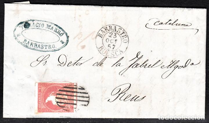 CARTA ENTERA NUM. 48 -IMPRESIÓN DEFECT- DE IGNACIO MARRO EN BARBASTRO (1857), PARRILLA Y FECHADOR (Sellos - España - Isabel II de 1.850 a 1.869 - Cartas)