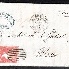 Sellos: CARTA ENTERA NUM. 48 -IMPRESIÓN DEFECT- DE IGNACIO MARRO EN BARBASTRO (1857), PARRILLA Y FECHADOR. Lote 97535611