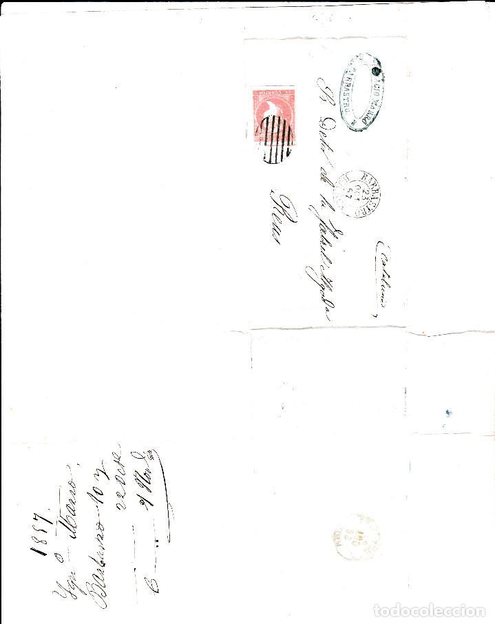 Sellos: CARTA ENTERA NUM. 48 -IMPRESIÓN DEFECT- DE IGNACIO MARRO EN BARBASTRO (1857), PARRILLA Y FECHADOR - Foto 3 - 97535611