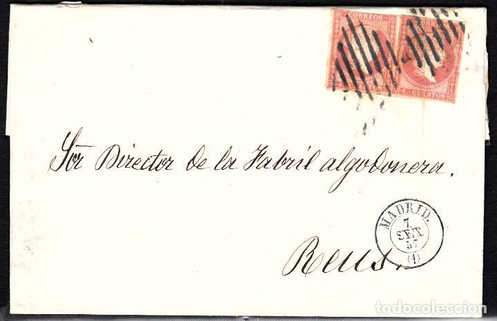 CARTA ENTERA CON PAREJA NUM. 48 DE MADRID (1857) A REUS PARRILLA Y FECHADOR NEGROS (Sellos - España - Isabel II de 1.850 a 1.869 - Cartas)